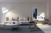 Minimalist Cream Living Room with Grey Rugs - Interior ...