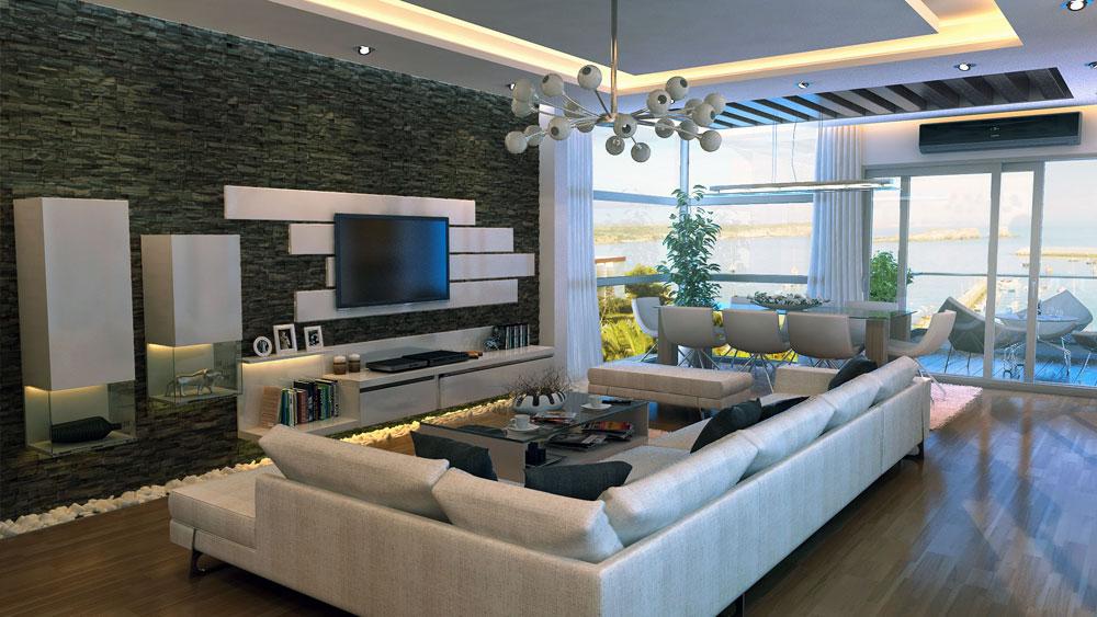 Modern Stone Feature Wall Living Room - Interior Design Ideas
