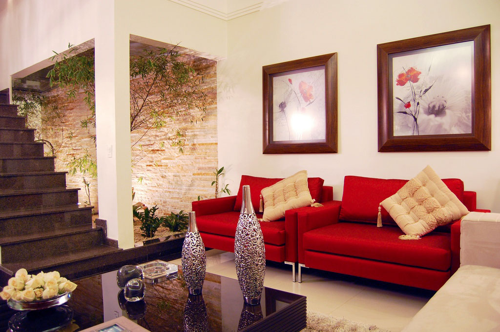red sofa white living room small layout with fireplace modern and courtyard interior