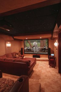 Family Media Room Design with Awesome Ceiling