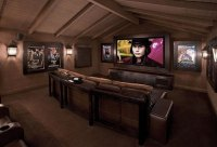 Vintage Media Room Design with Brown Carpets - Interior ...