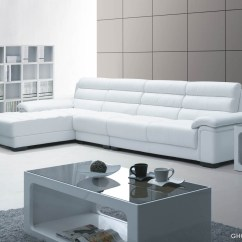 Leather Modern Sectional Sofa White Skyline Drive Home Gallery