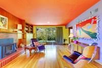 Orange and purple colorful living room - Interior Design Ideas