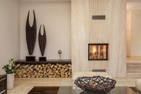 Wood fireplace and wood holder - Interior Design Ideas