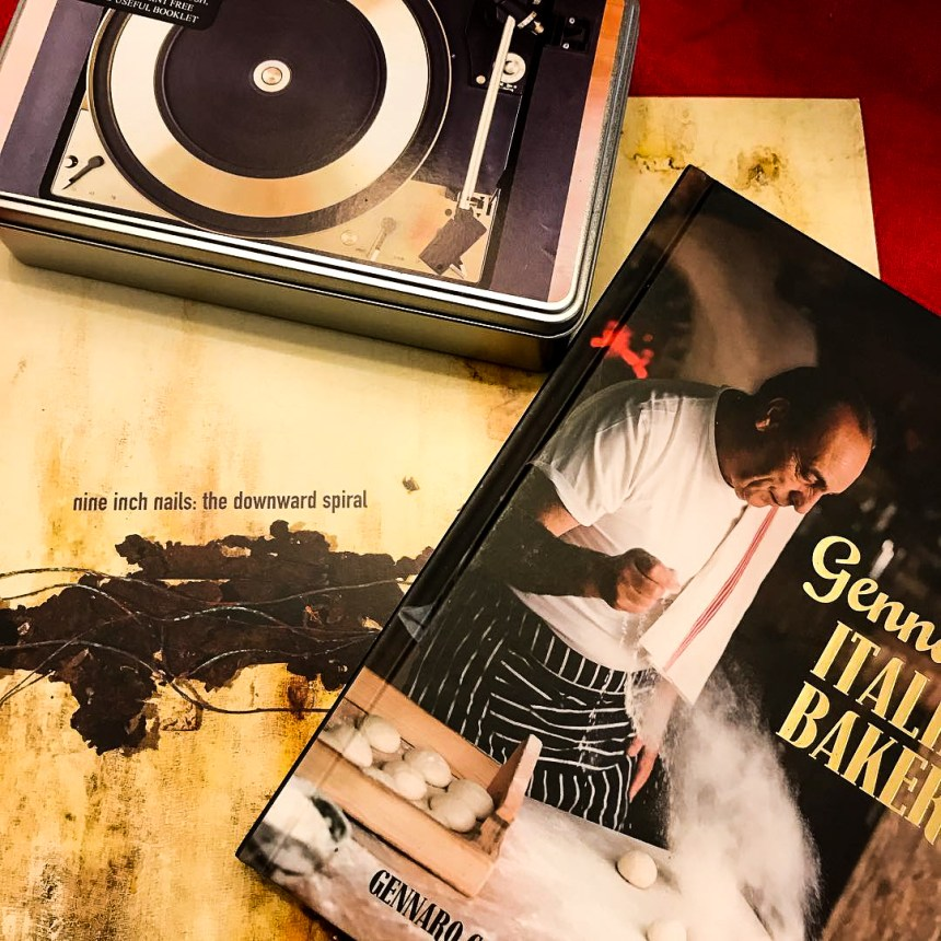Presents for Christmas, NIN vinyl, record cleaning kit and a baking book