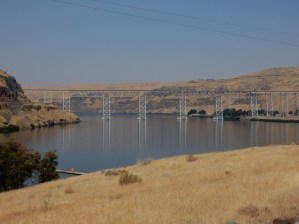 The railroad trestle at the crossing at the confluence of the Palouse River and the Snake River.