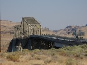 The highway bridge at the crossing at the confluence of the Palouse River and the Snake River.