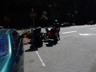 Phil guards the bikes in the parking lot at Deception Pass on Whidbey Island.