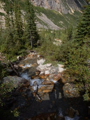 The photographers shadow falls on a creek running down the mountain at Mt Edith Cavell in Jasper Park.