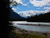 The Athabasca River just above the Athabasca Falls in Jasper Park.