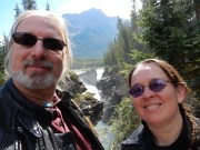 Ghost and Karen at the Athabasca Falls in Jasper Park.