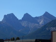 The Three Sisters peaks lie west of our hotel in Canmore, AB.