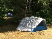 Our humble abode at the Par-tay on the island. That's Phil's tent further back in the woods.