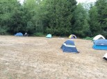 The tent city at the Par-tay on the island.