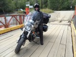 Ghost and the Vector pose on the McLure ferry over the Thompson River.