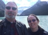 Ghost and Karen at Lake Louise in Alberta.