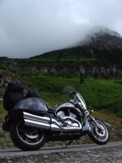 A low-angle view of the Vector along the Going-to-the-Sun road in Glacier National Park in Montana. Back in 1999 I took a nearly identical photo of my older bike, the Cruiser.
