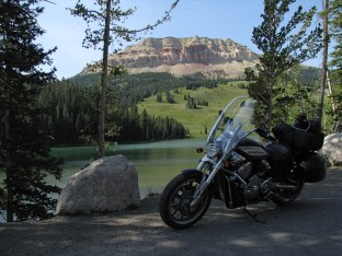 The Vector in front of a picturesque lake at the base of Hogback mountain along US212 in northern Wyoming. This photo is tradition for me; every time I pass this point I stop for the photo.