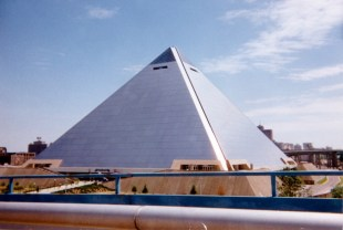 The Pyramid is where I saw the exhibit of Titanic aritifacts. This photo sucks because I used a disposable camera. After the film was developed, I dropped the photos (and my Newton 120 PDA) off the bike on I-96 east of Grand Rapids, MI. Several cars/trucks ran over the photos (and my Newton) before I could retrieve them. Instead of scanning the negatives to a Photo-CD, I scanned the abused photos on a flatbed scanner at a local Kinkos Copies. Again, this is why this photo sucks.