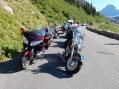 The pack of fellow bikes at the Glacier NP traffic jam. The Nightowl is hiding in the back center.