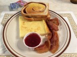 Pannukakku with cinnamon swirl toast and a side of bacon. Yum.