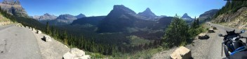 A panorama of the valley just east of the Glacier NP visitor center.