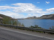 A view of the Blue Mesa Resevoir, looking east.
