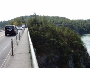 The east bridge (foreground) over Deception Pass.The east bridge (foreground) over Deception Pass.