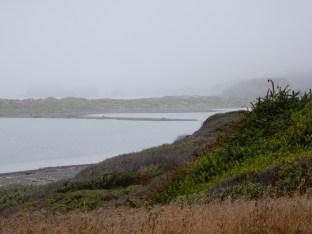 Massive offshore rocks hide in the coastal fog off Pistol River State Park.