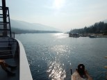Looking back at the Balfour Cove as the ferry heads out onto Lake Kootenay.