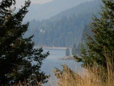 A overlook of Lake Kootenay, looking north, along highway 3A north of Creston.