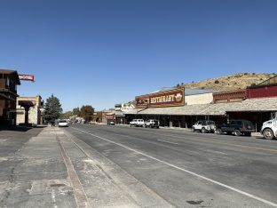 Downtown Eureka, Nevada, looking west.