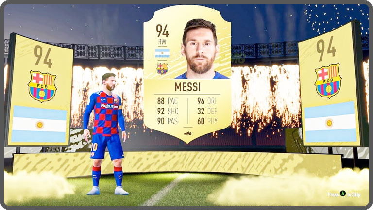 Screenshot of Lionel Messi on Fifa 2020 Ultimate Team loot box