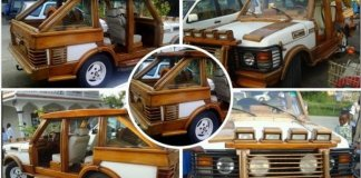 African Range Rover Made Out Of Wood