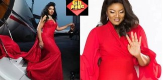 Photo: Omotola Stuns In Red As She Emerges From Private Jet For Her 40th Birthday