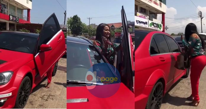 "Video: Nana Ama McBrown ""Storms"" town with her Flashy Red Mercedes Benz"
