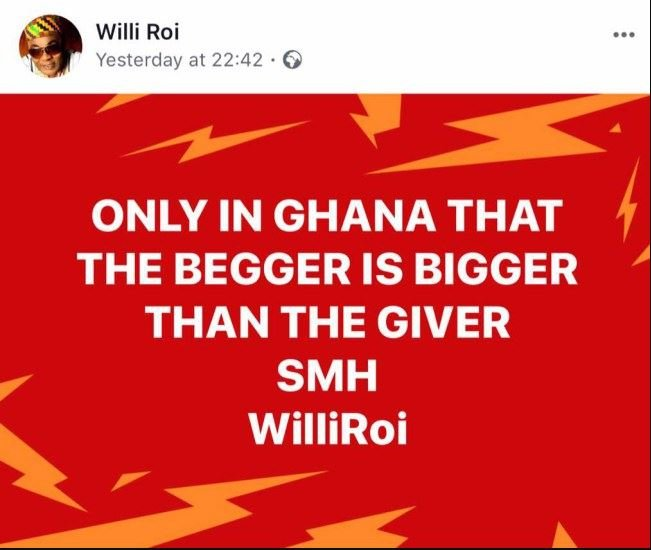 It Is Only In Ghana That The Beggar Is Bigger Than The Giver -Willi Roi Jabs Stonebwoy
