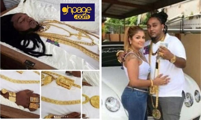 Photos Of A Man Buried With His Timberland Shoes, Gold Chains And Rings Trends On Social Media