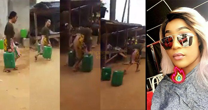 Video: Popular Nigerian Slay Queen Run Away After Being Spotted Carrying Gallons Of Water