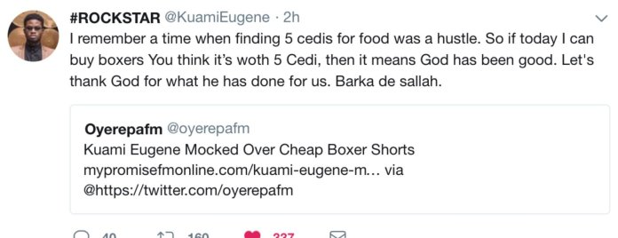 Kuami Eugene responds to trolls that he wears 5 cedis boxer shorts
