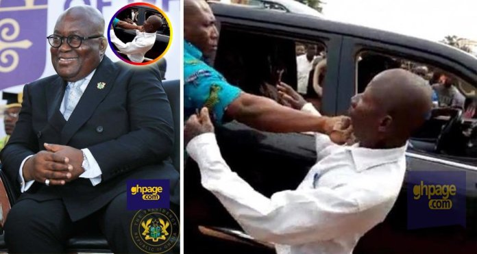 Akufo-Addo's bodyguard 'punches' old man who tried to give Nana Hi5