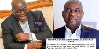 "Boakye Agyarko, the Energy Minister has been sacked by Boakye Agyarko; The 'stinking' Ameri deal and the alleged parliamentary ""bribe"" could be the reasons"