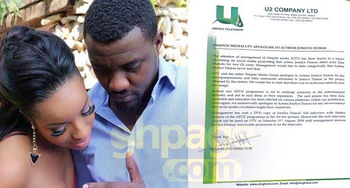 Statement: UTV (Despite Media) Apologises To Actress Joselyn Dumas over dating Dumelo comments