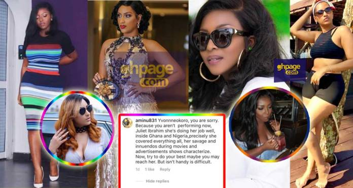 Yvonne Okoro goes 'mad' on a fan on IG for saying Juliet Ibrahim is better than her