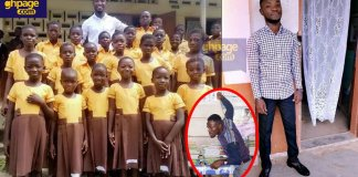 Teacher Kwadwo sews school uniforms for pupils with his monthly salary