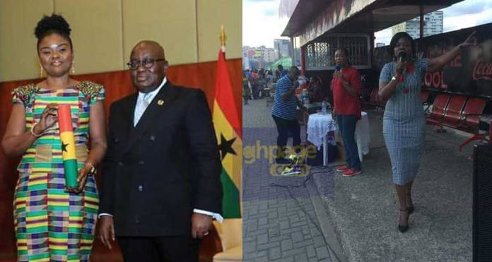 Photos of recently appointed Electoral Commission Boss of Ghana preaching at a bus stop goes viral [SEE]