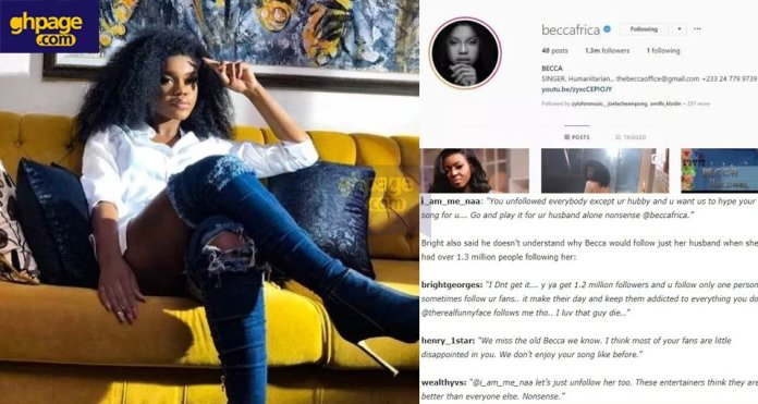 Fans angrily insult Becca after she unfollowed everyone on Instagram, except her husband
