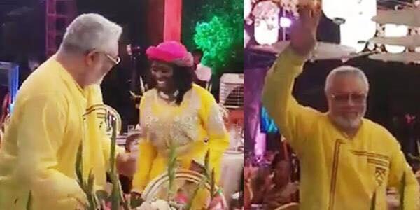 J.J Rawlings exhibit rare dancing skills at wife's birthday party