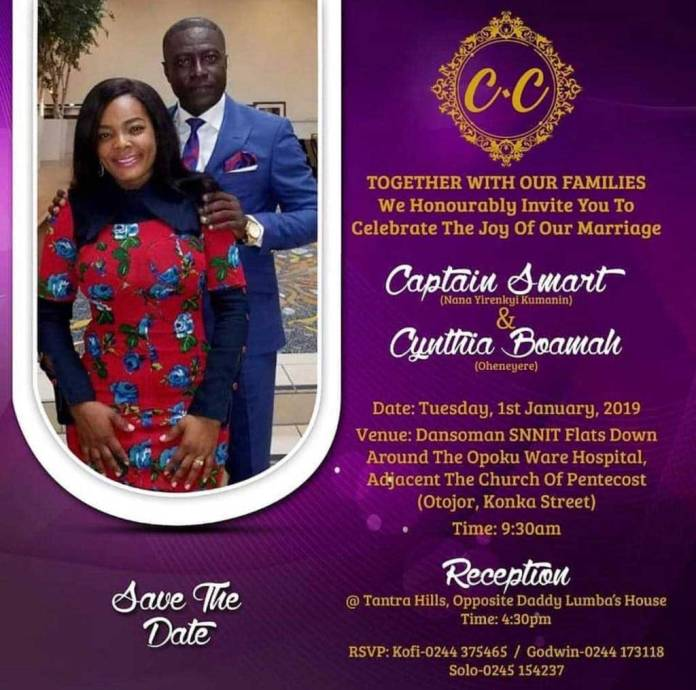 Captain Smart wedding invitation