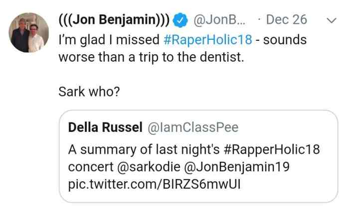 Jon Benjamin's tweet